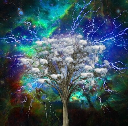 Cloud tree with bright lightnings