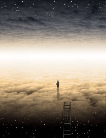 Spiritual composition. Mans Journey of the Soul. Bright horizon between clouds
