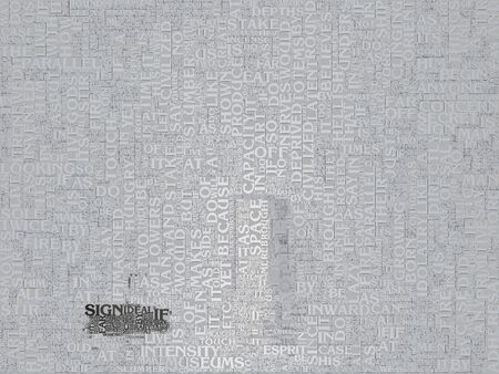 Abstract art. Door on text background