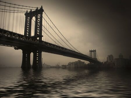 New York. Manhattan Bridge. Retro view 写真素材