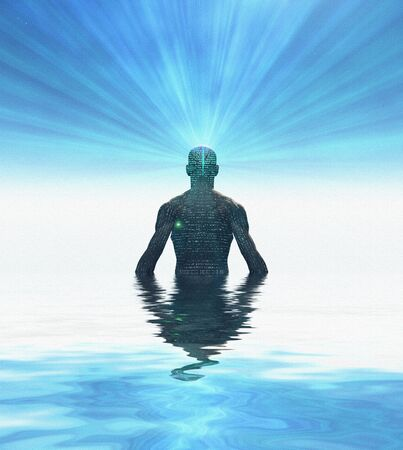 Man radiates light from mind. 3D rendering
