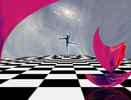 Surreal composition. Pink matter and dancer on chessboard