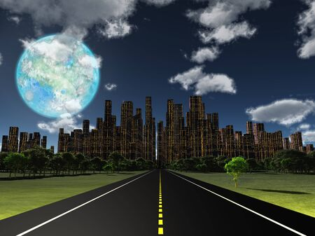 World of Future. Night roadway to future city. Terraformed moon in the sky. 3D rendering Banco de Imagens