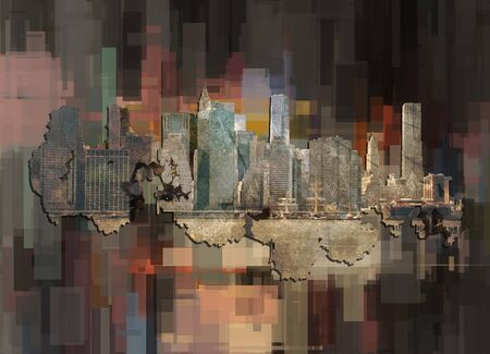 Manhattan. New York on abstract background. Modern art Stock Photo - 129407397