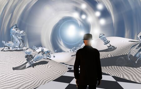 Chessman. Man in black suit in surreal white desert with giant chess pieces