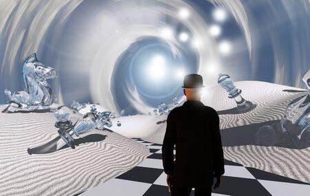 Scacchi. Uomo in abito nero in un deserto bianco surreale con pezzi di scacchi giganti