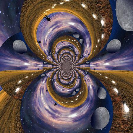 Planetarium fractal. Digital surreal composition. Man loses light bulbs as ideas