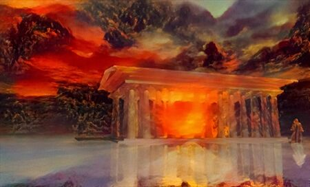 Temple of Sunset and its priest. Spiritual painting in vivid colors Stockfoto