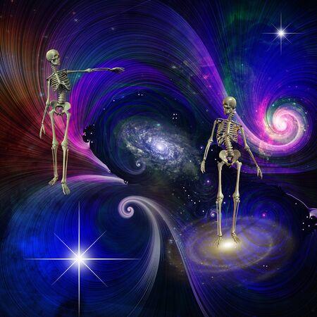 Skeletal Figures in Cosmos. Ending of existence Imagens