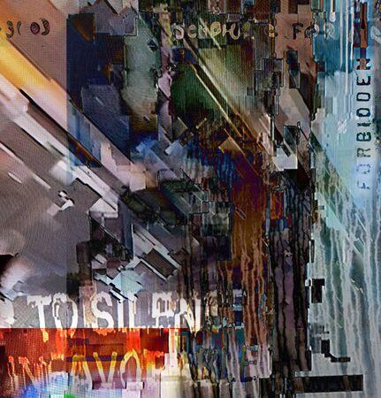 Digital grunge abstract. Glitch effect