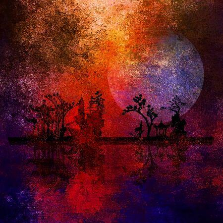 Asia Garden Landscape. Night silhouettes