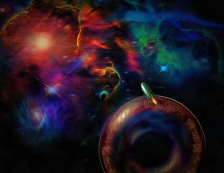 Digital painting. Black hole in vivid space. Retro sci fi rocket Imagens - 129407847