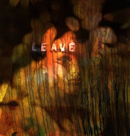 Modern digital composition in dark art style. Woman face and leave word Stockfoto