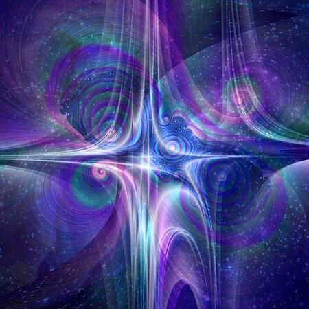 Space matter. Futuristic design in purple blue colors