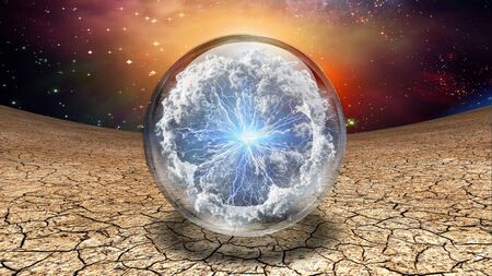 Surrealism. Life capsule. Splash of clouds and lightnings inside crystal ball 스톡 콘텐츠
