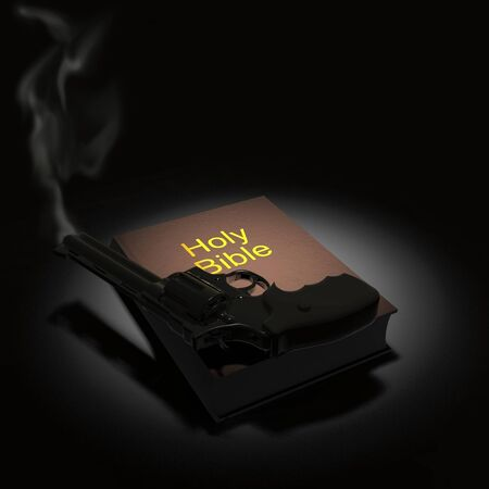 Holy Bible and revolver. 3D rendering Stock Photo