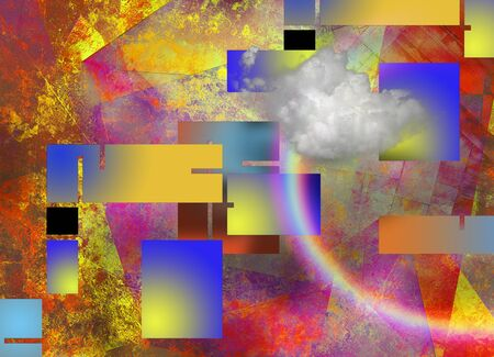 Modern art abstract with geometric forms, rainbow and cloud