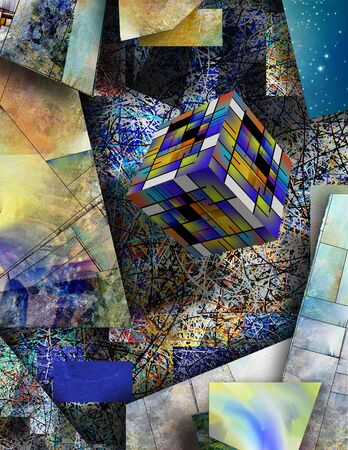Art Cube on abstract geometric background