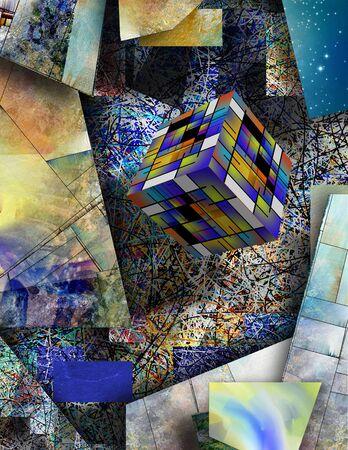 Cubo de arte sobre fondo geométrico abstracto