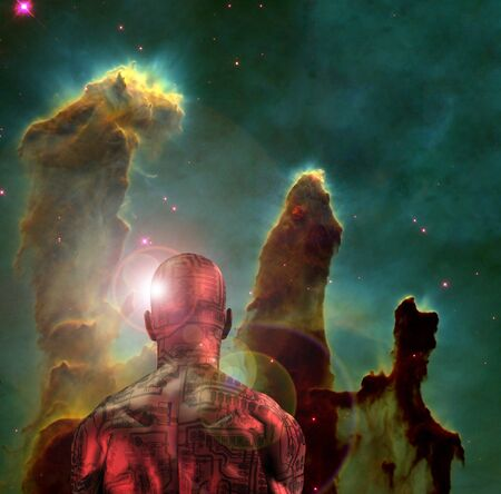 Surreal digital art. Naked man with electric circuit pattern on his skin stands before horse nebula in deep space