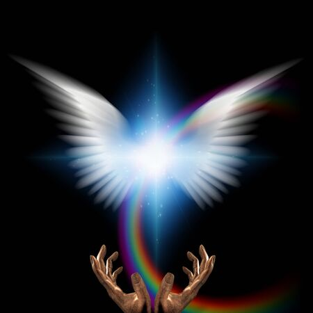 Surreal digital art. Moment of creation. Bright star with white angel's wings and rainbow. Hands of creator 写真素材 - 130048494