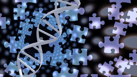 DNA strand and puzzle pieces Imagens - 130048537