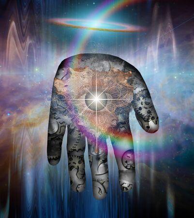 Machine God. Human palm with cogwheels and eye