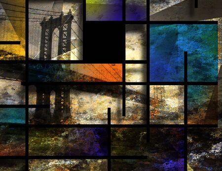 Modern art. Manhattan bridge, New York 写真素材