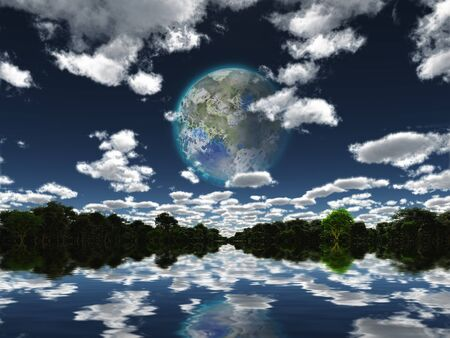 Surreal digital art. Terraformed moon seen from the Earth Imagens