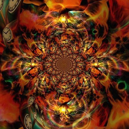 Geometric fractal in vivid colors. Burning time