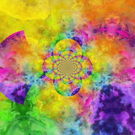 Vivid abstract painting. Colorful fractal dimensions