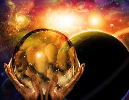 Seers vision. Faceless people in crystal ball