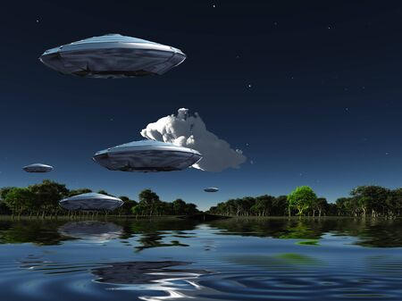 Flying saucers flies above ocean on water planet. Green forest at the horizon