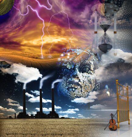 Surreal Dreams. Digital mixed media art Фото со стока - 130048635