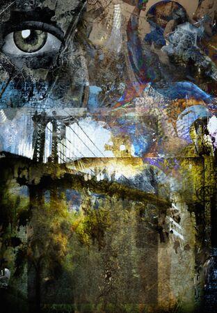 Grunge Dark Textured Manhattan Bridge Abstract