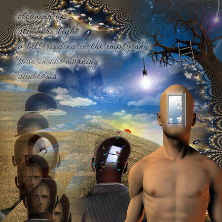 Open Mind. Surreal art. 3D rendering