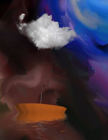 Contemporary art. Floating Umbrella. Abstract painted background
