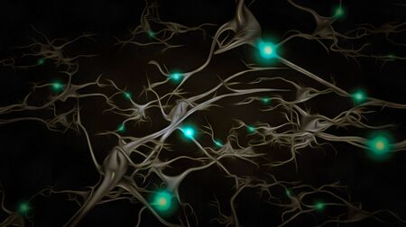 Brain cells with electrical firing. Neurons. Unique Sci-Fi Art Stockfoto