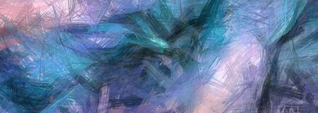 Colorful Abstract Painting. Blue Azure Brush Strokes
