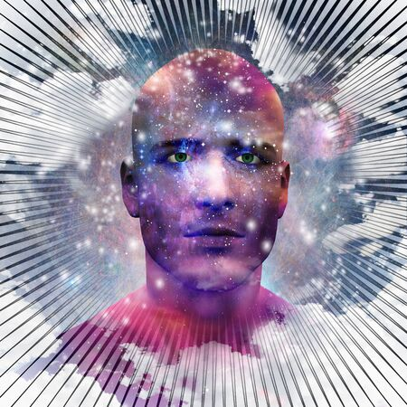 Surreal digital art. Mans head with stars and clouds. Abstract background