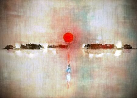 Modern abstract painting in sumi-e style. Red sunset over calm water Imagens
