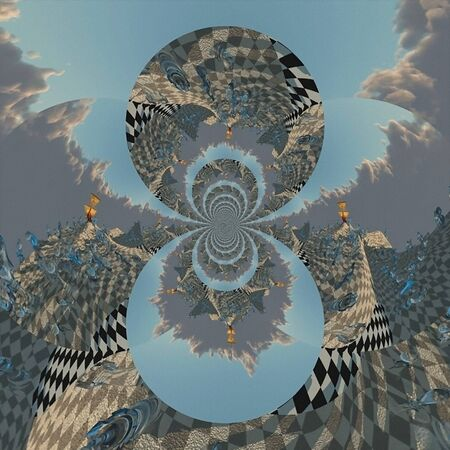 Digital painting. Fractal with chess pieces and sailboat. Surreal art