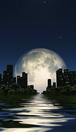 Surreal digital art. City surrounded by green trees in water world. Giant moon in the sky Imagens