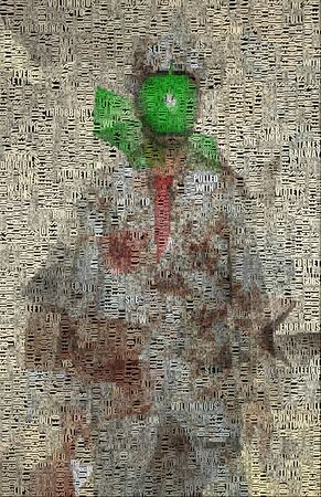 Surreal digital art. Man in white suit with green apple instead of face. Picture is composed entirely of the words