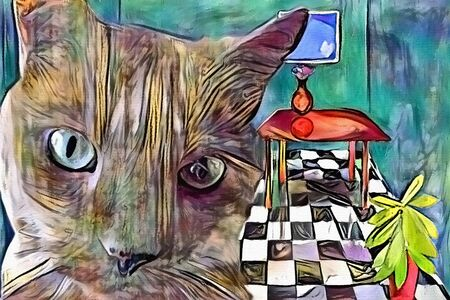 Contemporary art. Digital painting. Cat in living room