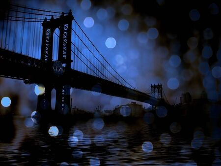 New York. Manhattan Bridge. Retro view 写真素材 - 130048772