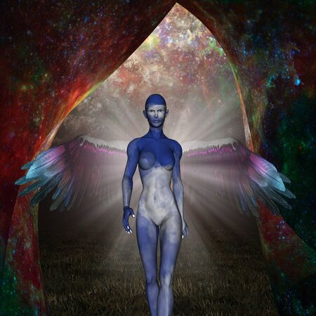 Sky Angel. Winged woman came from an unknown space