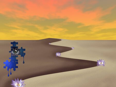 Surreal art. The desert of dreams. Lotus flowers and eye in puzzle pieces Фото со стока
