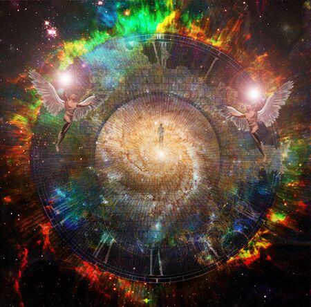 Seelenreise. Menschenseele im lebendigen Raum. Fliegende Engel Standard-Bild