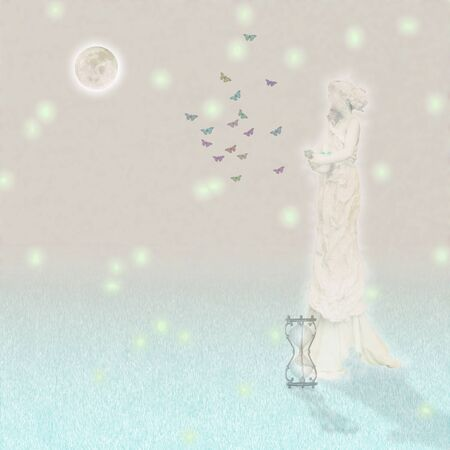 Woman`s marble statue and butterflies. Glowing moon and hourglass